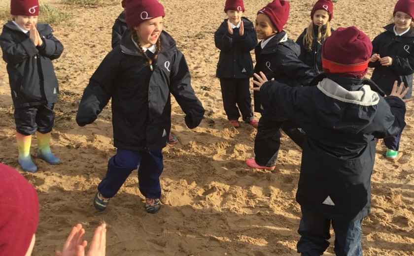 Learning fun and games for Year 2 on the beach