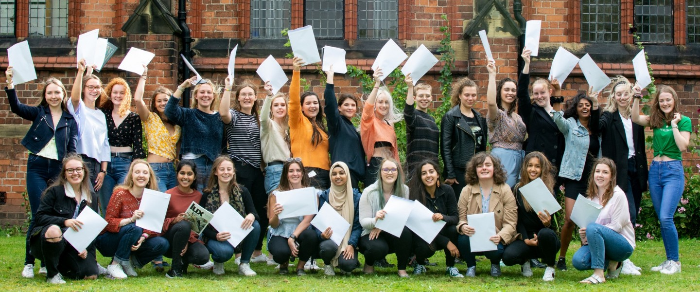 Girls celebrate A level results 2019